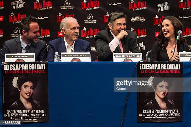 Erick Hayser Fernando Lujan Jorge Ortiz de Pinedo and Ariadne Diaz talk to the media during the presentation of the new staging 'La Dalia Negra' at...