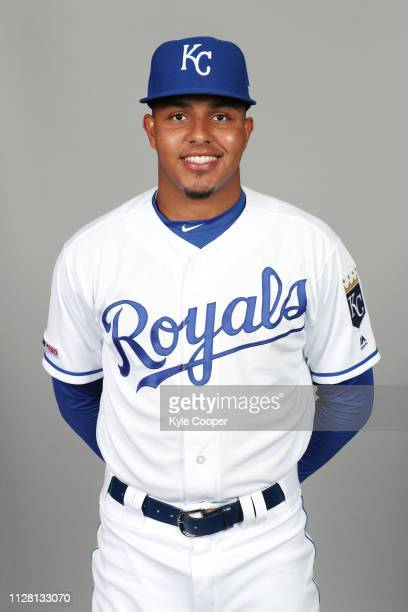Erick Mejia of the Kansas City Royals poses during Photo Day on Thursday February 21 2019 at Surprise Stadium in Surprise Arizona