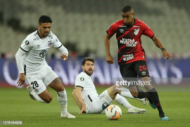 Erick of Athletico Paranaense controls the ball during a group C match of Copa CONMEBOL Libertadores 2020 between Athletico Paranaense and ColoColo...