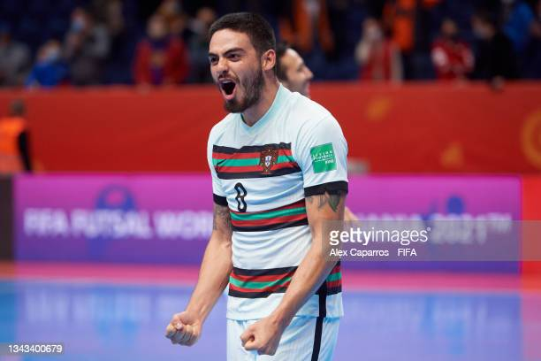Erick of Portugal celebrates victory following the FIFA Futsal World Cup 2021 Quarter Final match between Spain and Portugal at Vilnius Arena on...