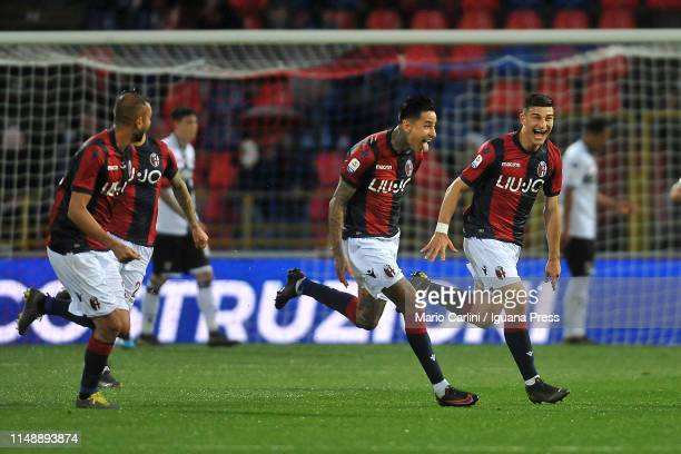 Erick Pulgar of Bologna FC celebrates after scoring his team's second goal during the Serie A match between Bologna FC and Parma Calcio at Stadio...