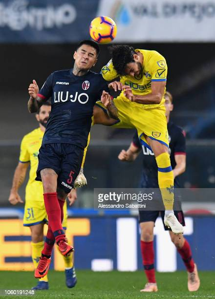 Erick Pulgar of Bologna FC competes for the ball with Mehdi Leris of Chievo Verona during the Serie A match between Chievo Verona and Bologna FC at...