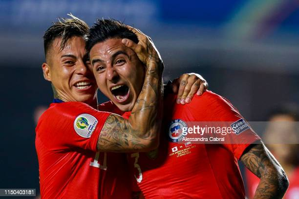 Erick Pulgar of Chile celebrates with teammate after scoring the first goal of his team during the Copa America Brazil 2019 group C match between...