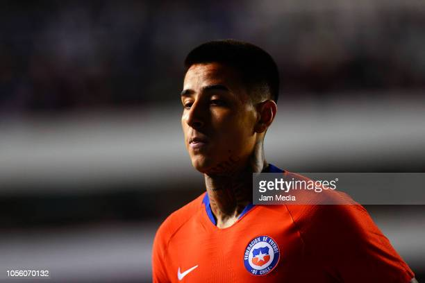 Erick Pulgar of Chile looks on during the international friendly match between Mexico and Chile at La Corregidora Stadium on October 16 2018 in...