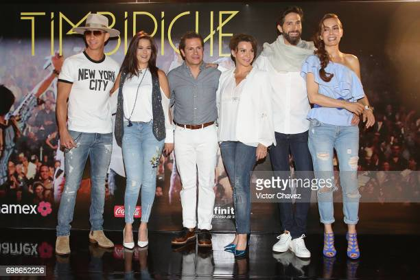 Erick Rubin Alix Bauer Diego Schoening Mariana Garza Benny Ibarra and Sasha Sokol of Timbiriche attend a press conference to promote their reunion...
