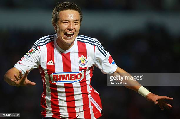 Erick Torres of Chivas celebrate after scoring the second goal of his team during a match between Puebla and Chivas as part of 10th round Clausura...