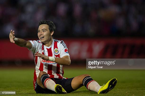 Erick Torres of Chivas gestures during a Championship match between Puebla and Chivas as part of Copa MX Clausura 2015 at Olimpico Universitario BUAP...