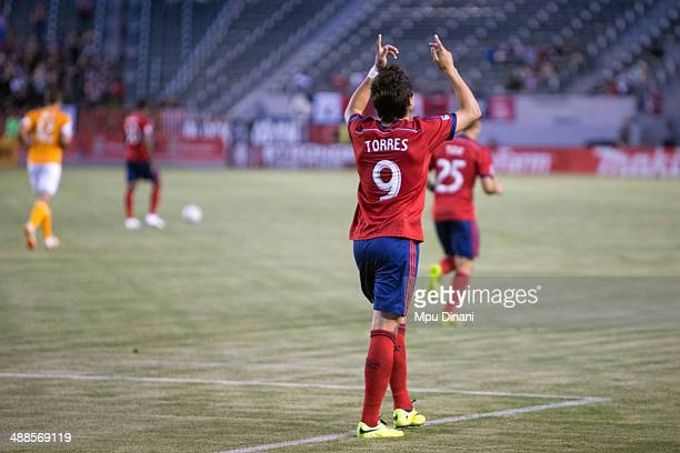 Erick Torres of Chivas USA celebrates after scoring a goal against the Houston Dynamo on May 3 2014 at StubHub Center in Los Angeles California