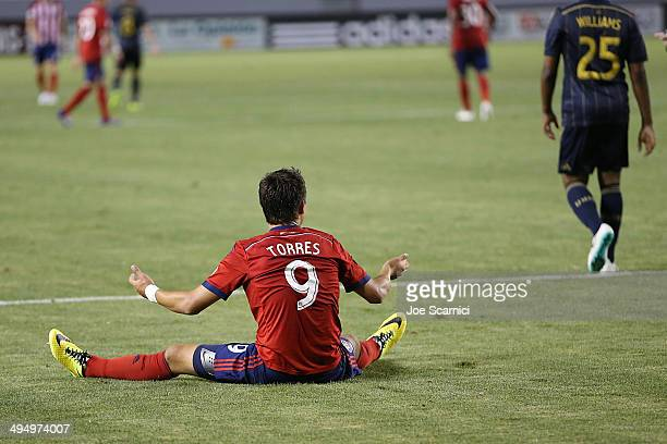 Erick Torres of Chivas USA looks for a call from the referee in the second half at StubHub Center on May 31 2014 in Los Angeles California