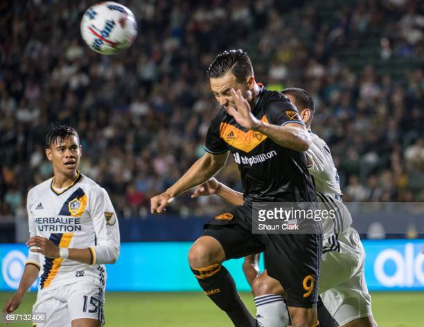 Erick Torres of Houston Dynamo clears the ball during the Los Angeles Galaxy's MLS match against Houston Dynamo at the StubHub Center on June 17 2017...