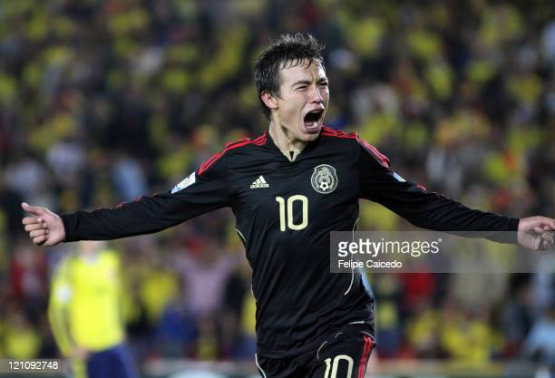 Erick Torres of Mexico celebrates after scores a goal against Colombia during the FIFA U20 World Cup Colombia 2011 match between Colombia and Mexico...