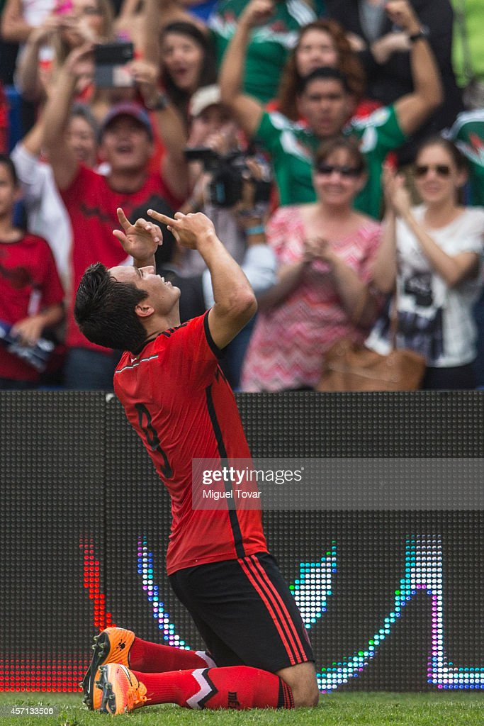 Erick Torres of Mexico celebrates after scoring during a friendly match between Mexico and Panama at Corregidora Stadium on October 12, 2014 in Queretaro, Mexico.