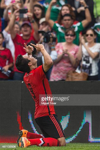 Erick Torres of Mexico celebrates after scoring during a friendly match between Mexico and Panama at Corregidora Stadium on October 12 2014 in...