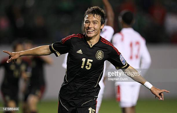 Erick Torres of Mexico celebrates after scoring the game's only goal in the stoppage time against Panama during the sixth day of 2012 CONCACAF Men's...