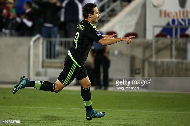 Erick Torres of Mexico celebrates his goal in the 65th minute against Honduras to take a 21 lead during 2015 CONCACAF Olympic Qualifying at Dick's...