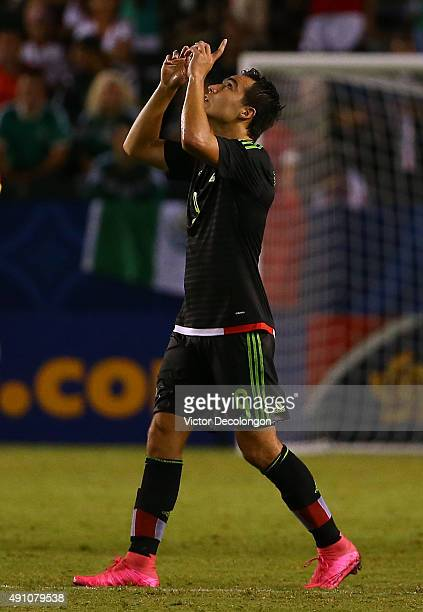 Erick Torres of Mexico celebrates his second goal against Costa Rica in the second half during the 2015 CONCACAF Olympic Qualifying Group B match at...