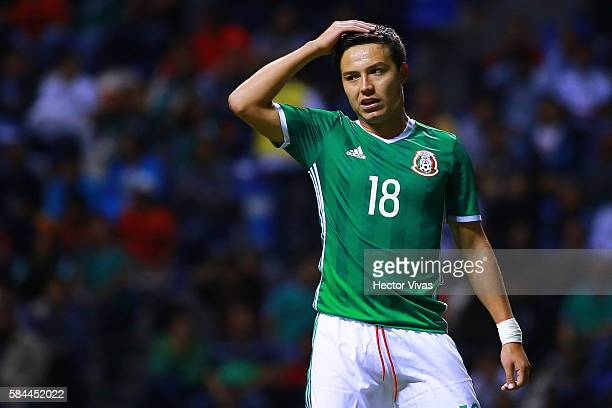 Erick Torres of Mexico gestures during an U23 International Friendly between Mexico and Argentina at Cuauhtemoc Stadium on July 28 2016 in Puebla...