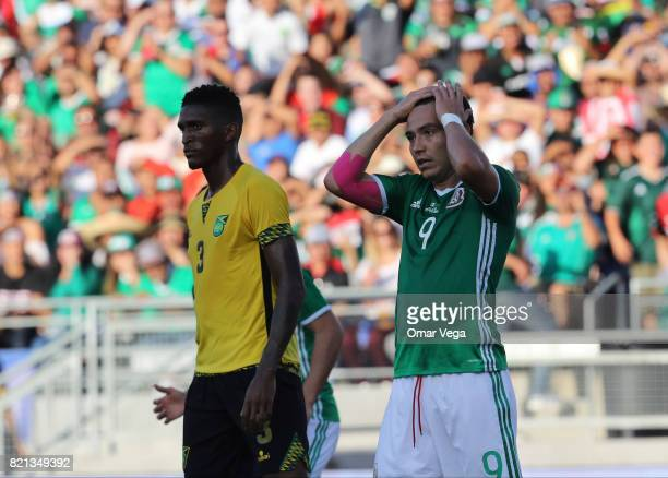 Erick Torres of Mexico reacts during a match between Mexico and Jamaica as part of CONCACAF Gold Cup Semifinal at Rose Bowl Stadium on July 23 2017...
