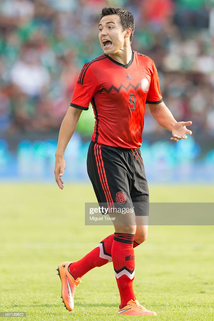 Erick Torres of Mexico reacts the ball during a friendly match between Mexico and Panama at Corregidora Stadium on October 12, 2014 in Queretaro, Mexico.