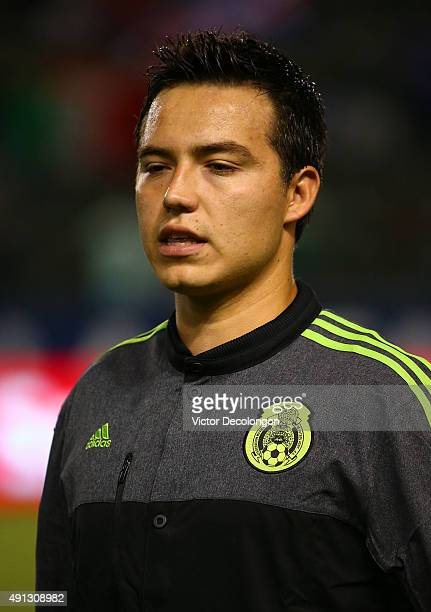 Erick Torres of Mexico sings along to the playing of the Mexican national anthem prior to the 2015 CONCACAF Olympic Qualifying Group B match against...