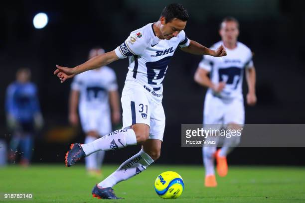 Erick Torres of Pumas drives the ball during the 7th round match between Pumas UNAM and Veracruz as part of the Torneo Clausura 2018 Liga MX at...