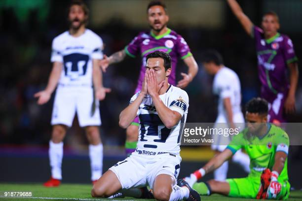 Erick Torres of Pumas reacts during the 7th round match between Pumas UNAM and Veracruz as part of the Torneo Clausura 2018 Liga MX at Olimpico...