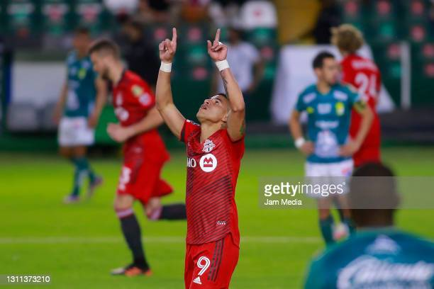 Erickson Gallardo of Toronto celebrates after Andres Mosquera of Leon scored an own goal during a first leg match of round of sixteen between Leon...