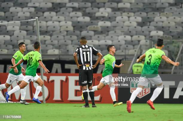 Erickson Gallardo of Zamora celebrates after scoring his team's first goal during a match between Atletico MG and Zamora as part of Copa CONMEBOL...