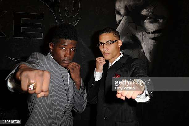 Erickson Lubin and Dennis Galarza attend a press conference to announce a fight at the Seminole Hard Rock Hotel and Casino on October 1, 2013 in...