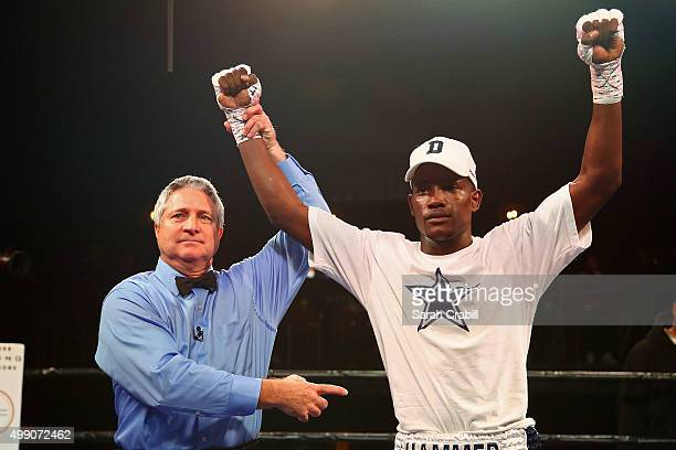 Erickson Lubin celebrates his victory over Alexis Camacho in the second round of the welterweight bout during the Premier Boxing Champions at Bomb...