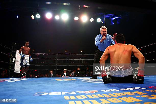 Erickson Lubin knocks out Alexis Camacho in the second round of the welterweight bout during the Premier Boxing Champions at Bomb Factory on November...