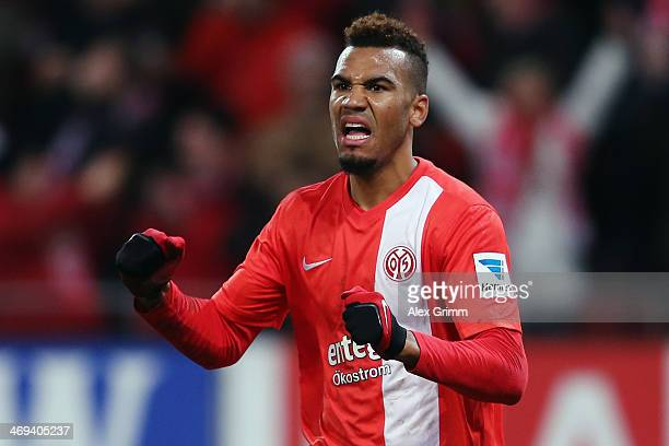 EricMaxim ChoupoMoting of Mainz celebrates his team's second goal during the Bundesliga match between 1 FSV Mainz 05 and Hannover 96 at Coface Arena...