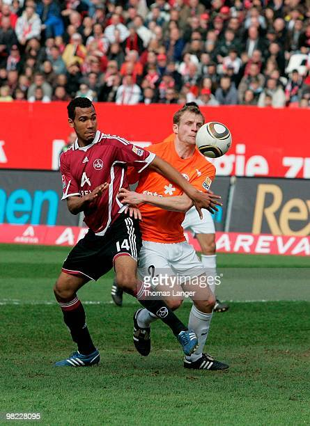 Eric-Maxim Choupo-Moting of Nuernberg scores the 2-0 goal during the Bundesliga match between 1. FC Nuernberg and FSV Mainz 05 at Easy Credit Stadium...