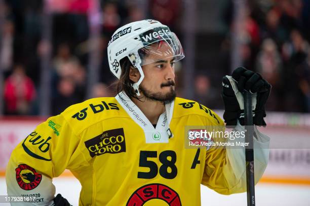 Eric-Ray Blum of SC Bern looks dejected after the Swiss National League game between Lausanne HC and SC Bern at Vaudoise Arena on November 1, 2019 in...