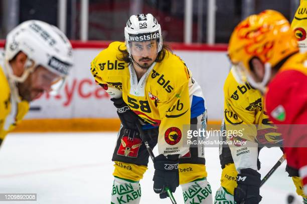 Eric-Ray Blum of SC Bern looks on during the Swiss National League game between Lausanne HC and SCL Tigers at Vaudoise Arena on February 25, 2020 in...