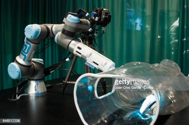 Ericsson display their robot technology for surgery operations during the Mobile World Congress on February 28 2017 in Barcelona Spain