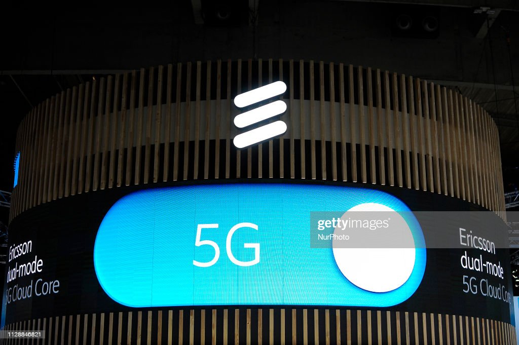 5G Ericsson logo exhibited during the Mobile World Congress