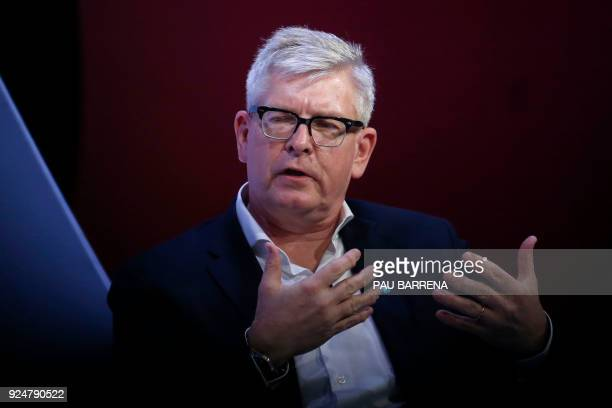 Ericsson President and CEO Borje Ekholm gives a press conference on the second day of the Mobile World Congress on February 27 2018 in Barcelona The...