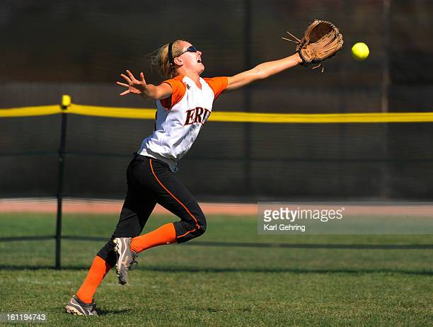 Erie centerfielder Kenzie Kudrna reached for a ball that dropped for a triple for Rock Canyon hitter Shannon Lieber in the fifth inning The Rock...
