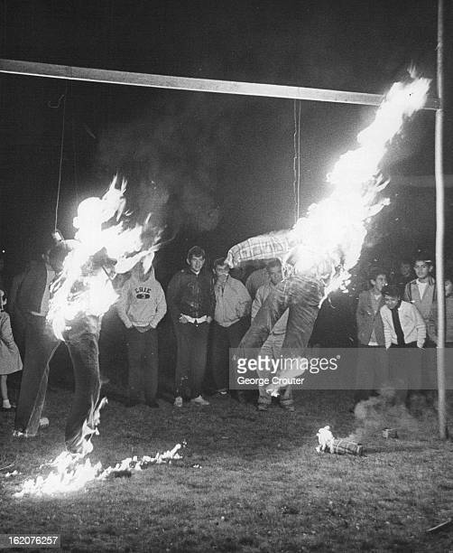 NOV 21 1962 NOV 22 1962 Erie Colo Students And Townspeople Build A Fire On Football Field They burned school principal and coach in effigy after...
