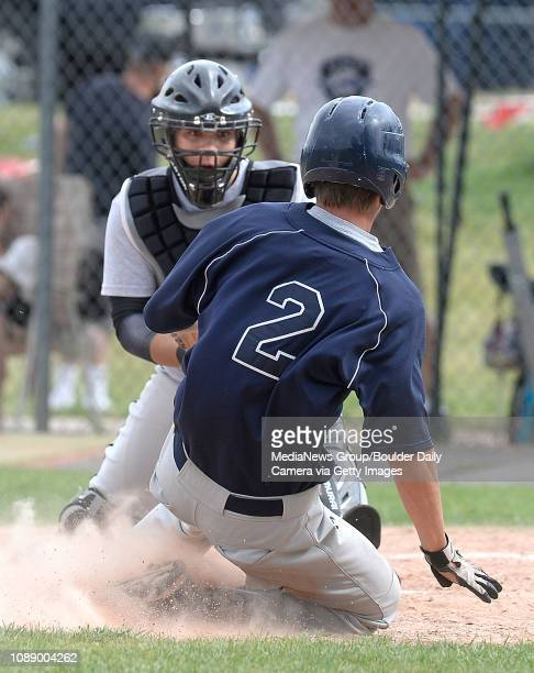 Erie/ Longmont catcher Nic Ogimachi tags out Jesse Capaul at home plate during a game against the Diamond Club on Thursday July 10 at Centaurus High...