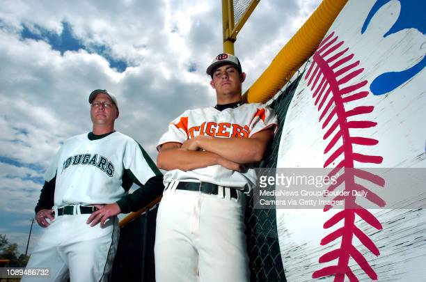 Erie pitcher Mike Rahrich right is the Camera's All County Baseball Player of the Year and Niwot head coach Jason Lathrop is All County Baseball...