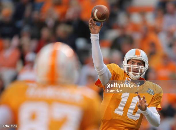 Erik Ainge of the Tennessee Volunteers throws a pass to Quintin Hancock against the Louisiana Lafayette Cajuns during the third quarter at Neyland...
