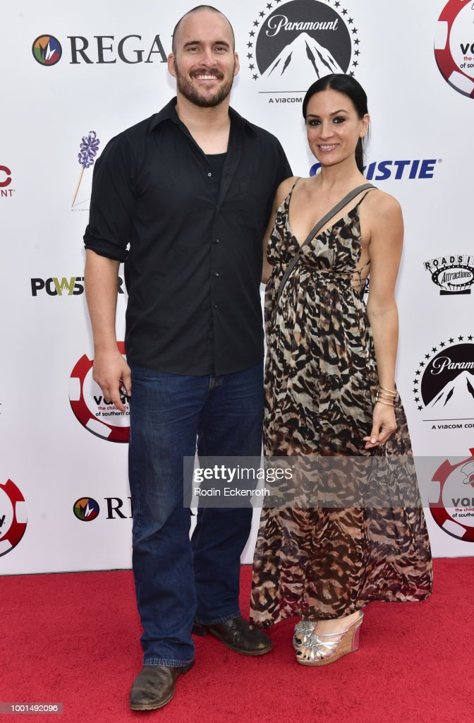 Erik Aude (L) and Erin O'Brien attend the 8th Annual Variety Children's Charity of SoCal Texas Hold 'Em Poker Tournament at Paramount Studios on July 18, 2018 in Los Angeles, California.