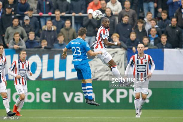 Erik Bakker of PEC Zwolle Eyong Enoh of Willem II during the Dutch Eredivisie match between PEC Zwolle v Willem II at the MAC3PARK Stadium on April...