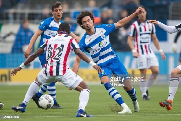 Erik Bakker of PEC Zwolle Eyong Enoh of Willem II Phillipe Sandler of PEC Zwolle during the Dutch Eredivisie match between PEC Zwolle and Willem II...