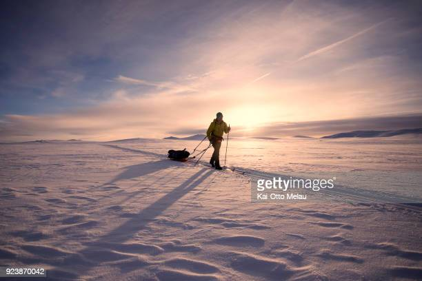 Erik Baller from Denmark skiing over the plateau at Expedition Amundsen on February 24 2018 in Eidfjord Norway The Expedition Amundsen is known as...