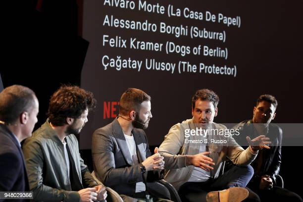 Erik Barmack Alvaro Morte Alessandro Borghi Felix Kramer and Cagatay Ulusoy attend Netflix Originals From Europe panel during Netflix 'See What's...
