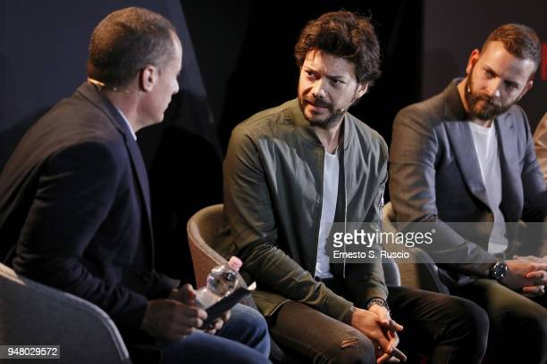 Erik Barmack Alvaro Morte and Alessandro Borghi attend Netflix Originals From Europe panel during Netflix 'See What's Next' event at Villa Miani on...