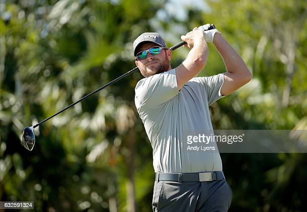 Erik Barnes hits his tee shot on the 14th hole during the second round of The Bahamas Great Abaco Classic at the Abaco Club on January 24 2017 in...